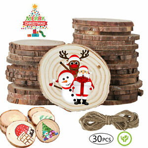 30Pcs-Unfinished-Natural-Wood-Slices-Pieces-Christmas-Tree-Ornaments-DIY-Craft