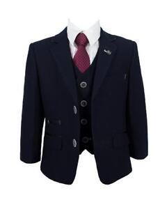 83acb1f94086 Kids Childrens Boys All Blue 3 Piece Suit Wedding Blazer Waistcoat ...