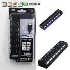 7 Port USB 2.0 Hub With Power On/Off Switch Led Light High Speed Up to 480 Mbps