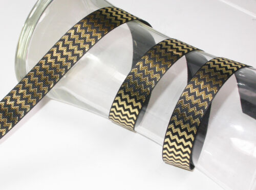 Black /& Gold Chevron Ribbon x 1yard 23mm 7//8/""