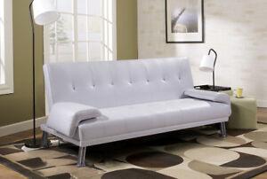 Divano Letto 3 Posti.Dettagli Su Sofa Divano Letto 3 Posti Reclinabile Ecopelle Bianco Doppio 194x110 Contrasseg