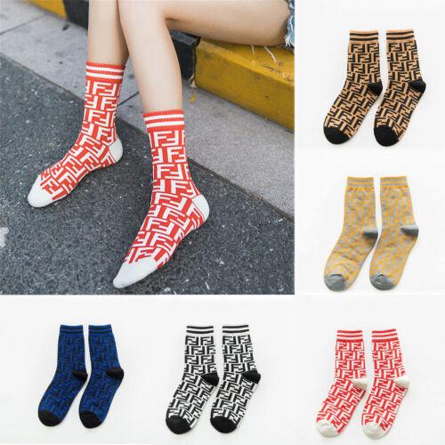 Women Men Double F Letter Printing Stockings Socks Soft Casual Cotton Socks