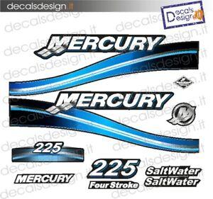 Adesivi motore marino fuoribordo Mercury 225 optimax saltwater gommone stickers