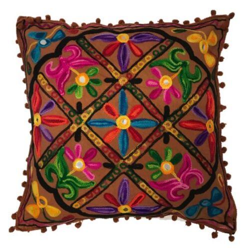 Indisch Pom Poms Bohemian Indischer Ethnisch Kissenbezüge Bestickt 40 x 40 CM