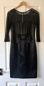 BRAVISSIMO-BLACK-MESH-BOW-SATIN-PENCIL-DRESS-UK-8-CURVY-NEW-PARTY
