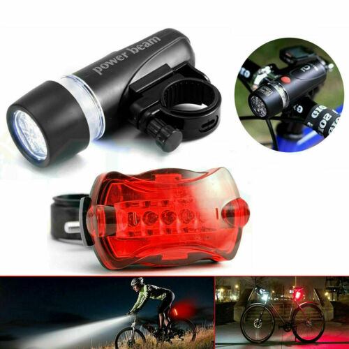 New Waterproof 5 LED Lamp Bike Bicycle Front Head Light+Rear Safety Flashlight