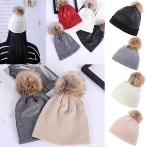 3dff53c03 Details about NEW Women Mom Warm Winter Knit Fur Pom Pom Hat knitting Ski  Ball Cap