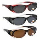NEW WOMENS Rhinestone POLARIZED Oval Lens Cover Fit Over Sunglasses