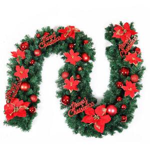 2.7M Christmas Garland 9FT Xmas Green Fireplace Window Door Wreath Party Decor
