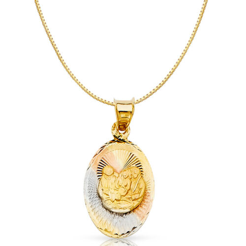 Details about  /14K 3 Tone Gold Baptism Stamp Religious Charm Pendant /& 0.8mm Box Chain Necklace