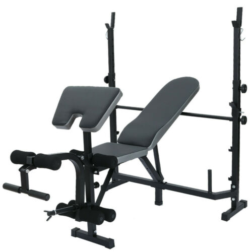 Details about  /Folding Power Squat Rack With Weight Bench Dumbbell Barbell Lifting  Adjustable