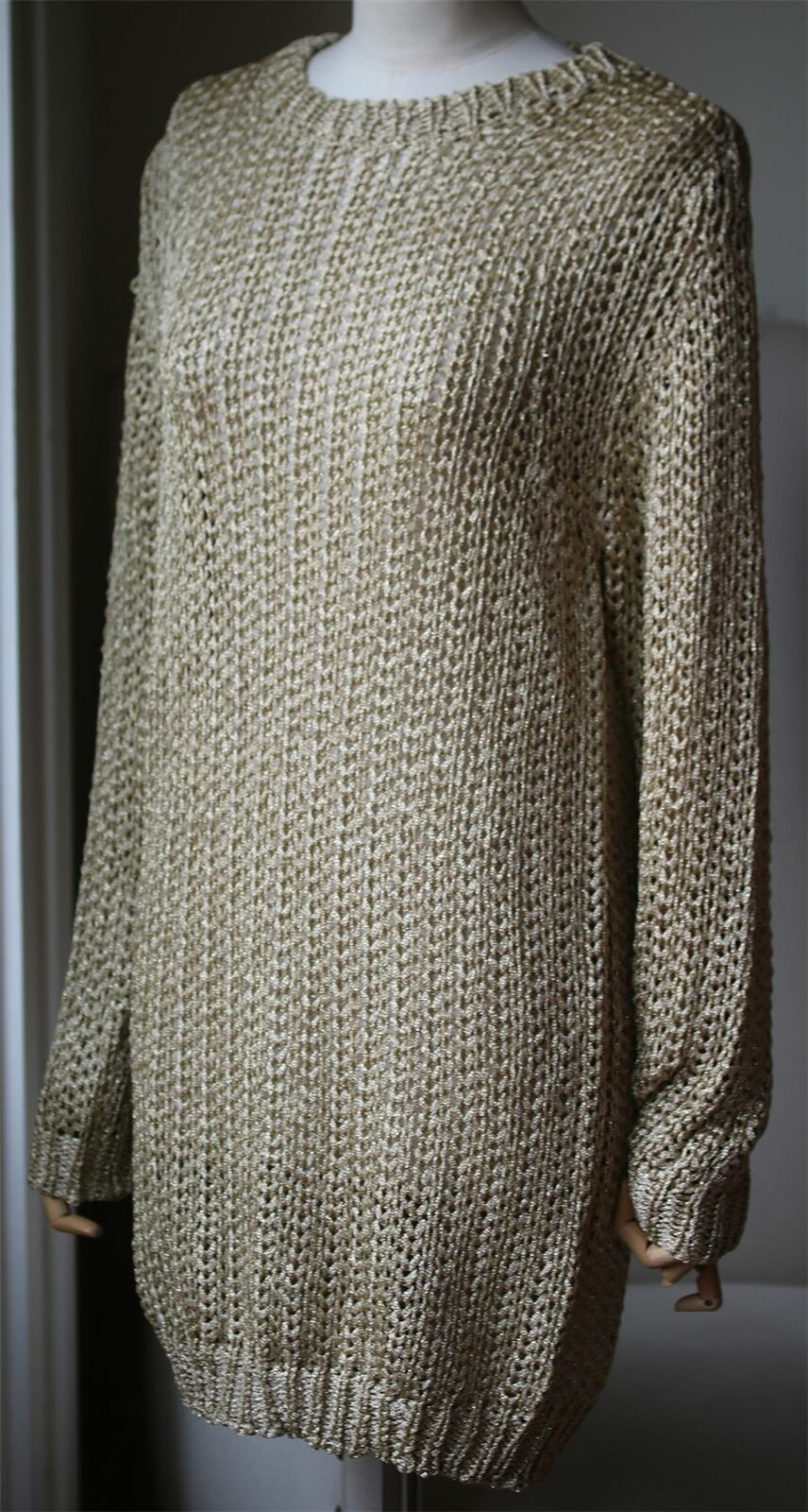 JOSEPH METALLIC METALLIC METALLIC OPEN KNIT SWEATER MEDIUM 8a132f