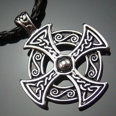 """Silver Celtic Solar Cross Pewter Pendant with 20"""" Choker Necklace PP#235"""