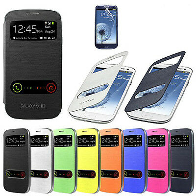 New Slim S-VIEW Flip Case Battery Cover For Samsung GALAXY SIII S3 i9300 UK