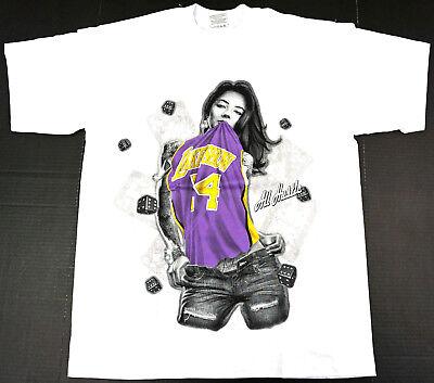 Los Angeles LAKERS T-shirt LA Lakeshow Kobe Skull Art Tee Black Mamba XL New
