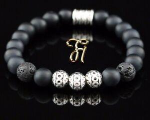 Onyx-und-Lava-matt-Armband-Bracelet-Perlenarmband-Silber-Beads-8mm