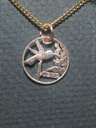 Hummingbird Cut Coin Pendant 1 Cent Coin from Trinidad and Tobago