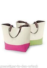 Damen Shopper Tasche Einkaufstasche Strandtasche beige-grün NEU