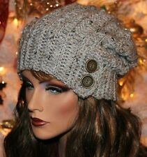 Grey Marble Slouchy Hat with Button Accent Beanie Boho Womens Girls Teens Winter