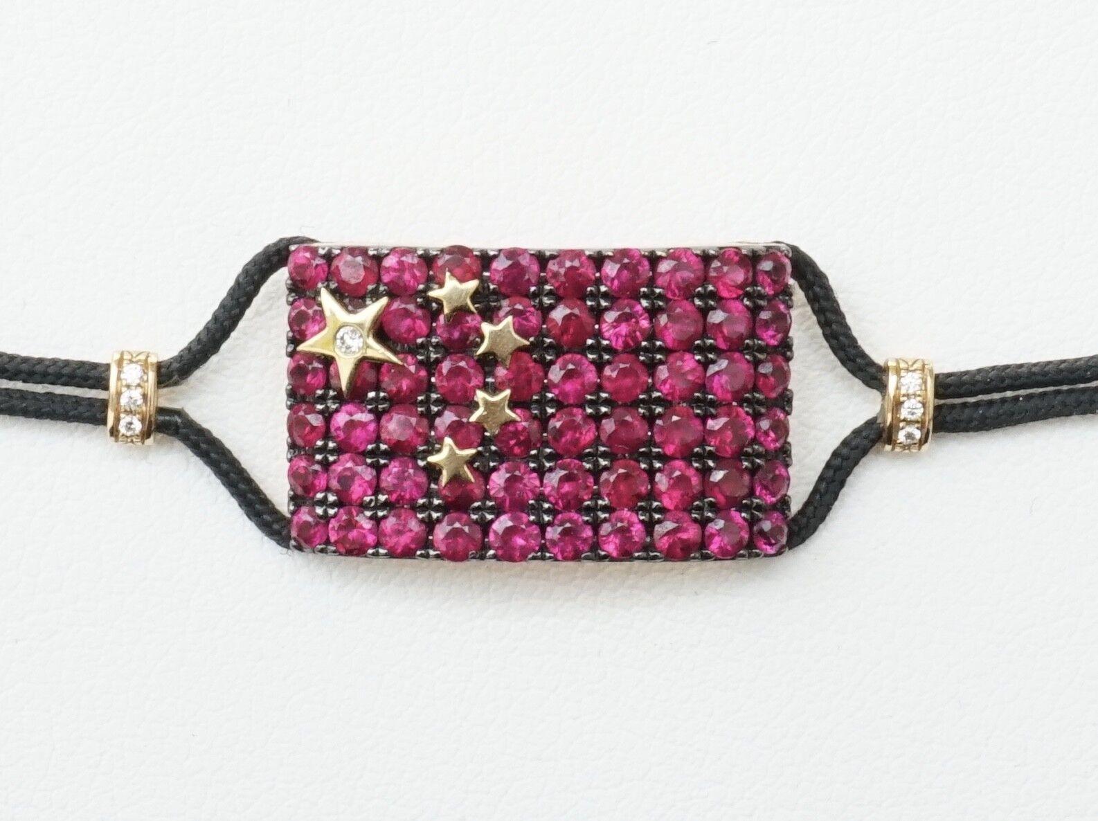 NEW 18K Yellow gold Pippo Perez Ruby & Diamond Corded Bracelet