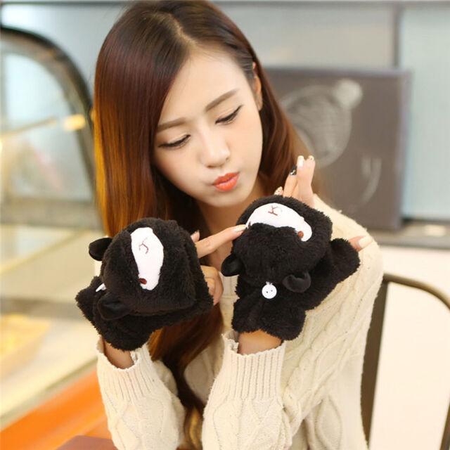Winter Girls Fingerless Gloves Soft Women Cartoon Alpaca Fluffy Plush Mitten Sha