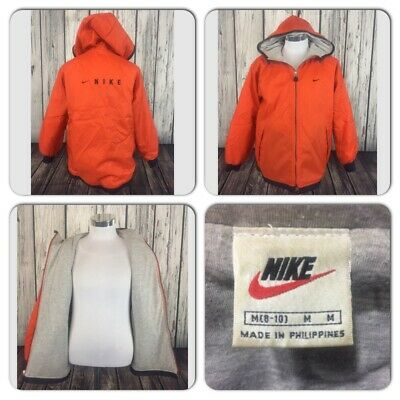 EXC COND VTG NIKE MENS M SOFT LINED HOODED SPELL OUT LOGO ORANGE ZIP RAIN JACKET | eBay