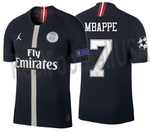 sneakers for cheap 3272a 3a3c0 Details about JORDAN KYLIAN MBAPPE PSG UEFA CHAMPIONS LEAGUE VAPOR MATCH  HOME JERSEY 2018/19.