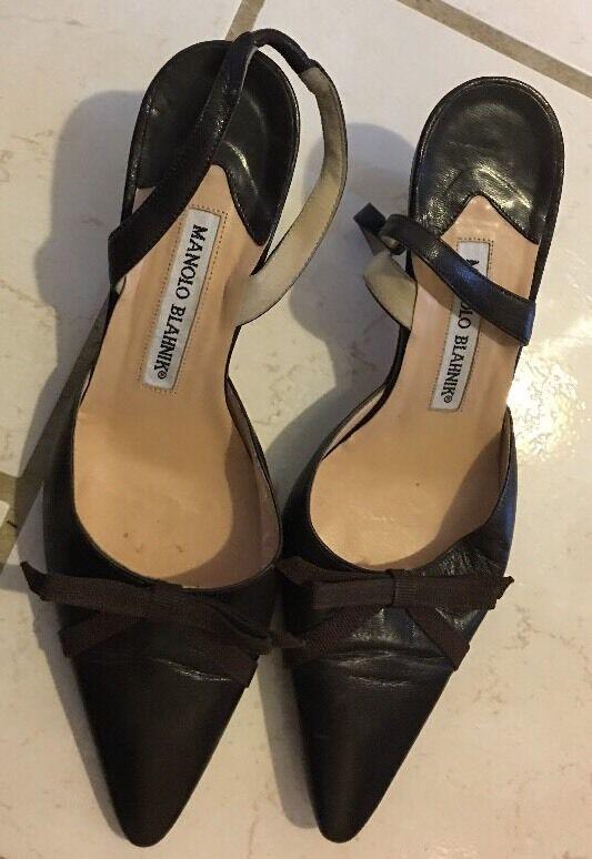 Manolo Blahnik Marroneee Leather Pointed Toe Slingback Heel scarpe Dimensione 37