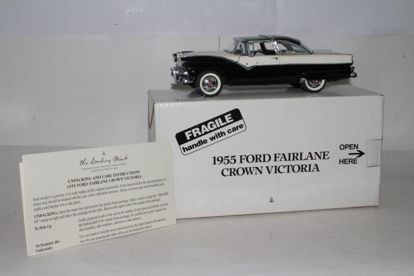 Danbury Mint 1955 Ford Fairlane Crown Victoria, negro & blanco, 1 24 , en Caja