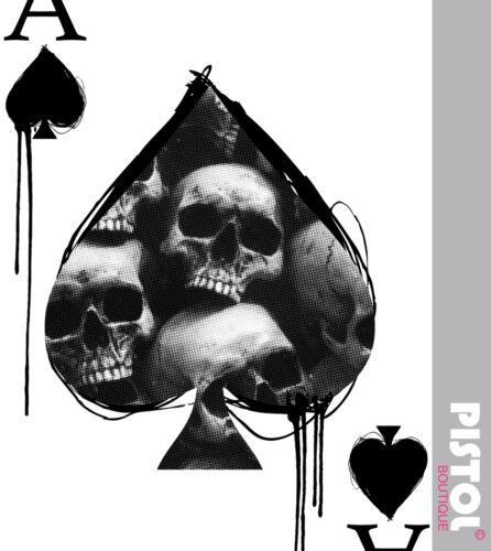 Gilet Pistol Boutique Hommes Blanc Ace Of Spades Crâne Carte Mode Débardeur