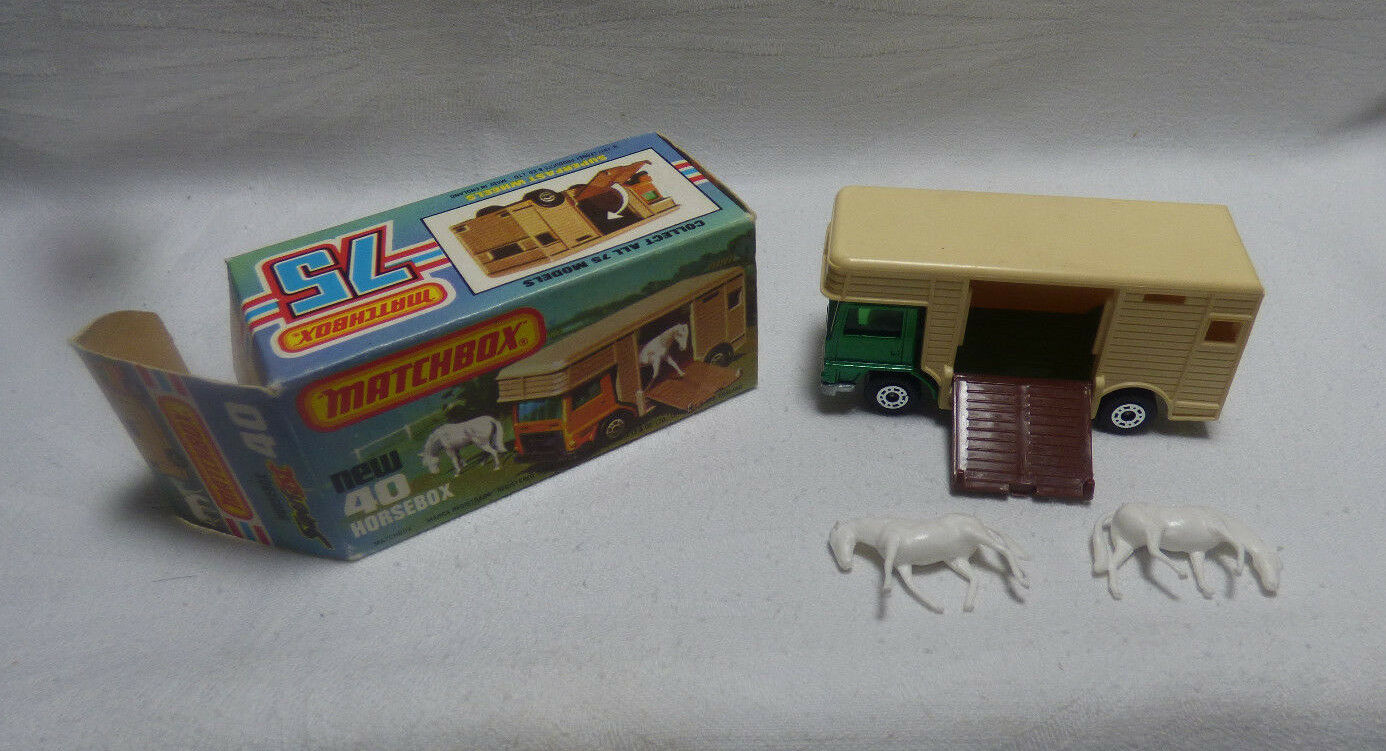 Matchbox Superfast-MB 40 horsebox verde made in England-Embalaje original -
