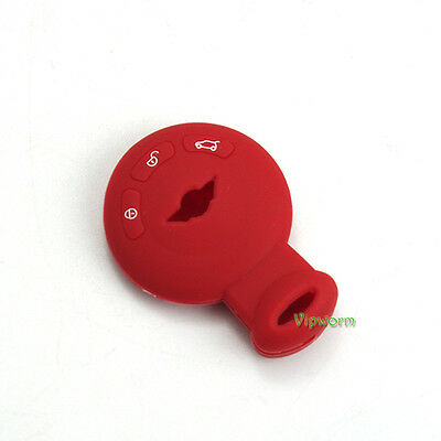 Red Protective Silicone Key Case Shell Cover For Mini Cooper Countryman