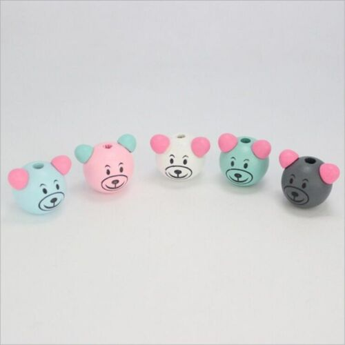 NEW 10X  Wooden Round Bear Loose Beads Beaded DIY Pacifier Clip making craft