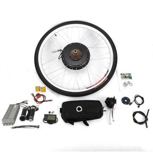 """28/"""" 48V 1000W conversione bici elettrica LCD e-bike rear wheel Kit  POSTERIORE"""