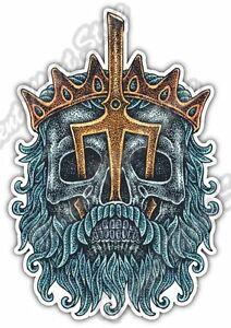 "Details about Poseidon Neptune Trident Ocean Skull God Sea Car Bumper Vinyl Sticker Decal 4X5"""