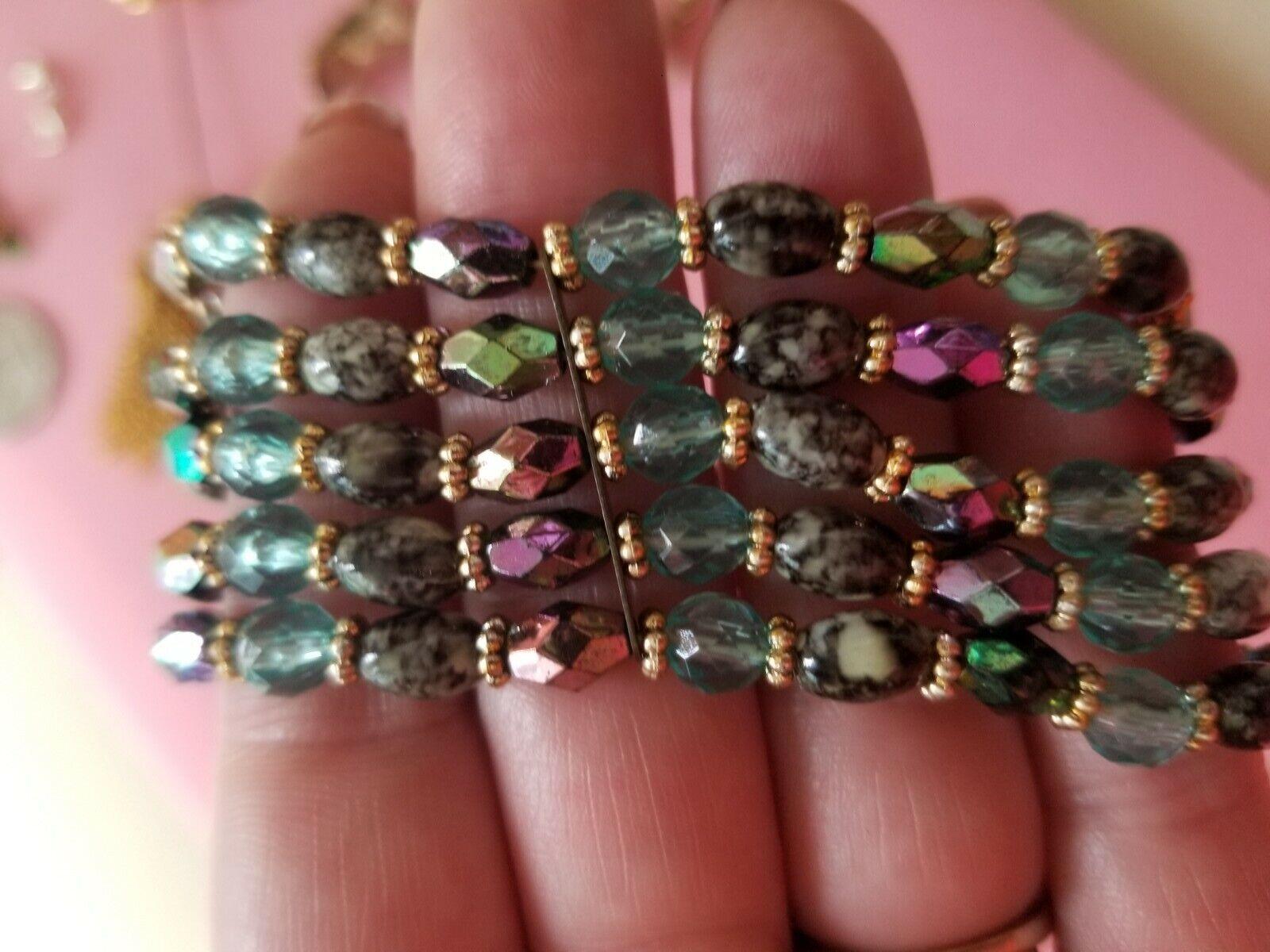 Red Green Blue Purple Yellow Cubic Zirconia Stones Vintage Rainbow Faux Gemstone Link Bracelet Open Backs Goldtone and Silvertone