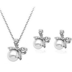 Bridal-Jewellery-Set-White-Pearl-Silver-Bow-Knot-Studs-Earrings-amp-Necklace-S596