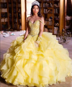ee5f5dbd9828 Off Shoulder Sweet 16 Yellow Quinceanera Dresses Gowns Princess Ball ...