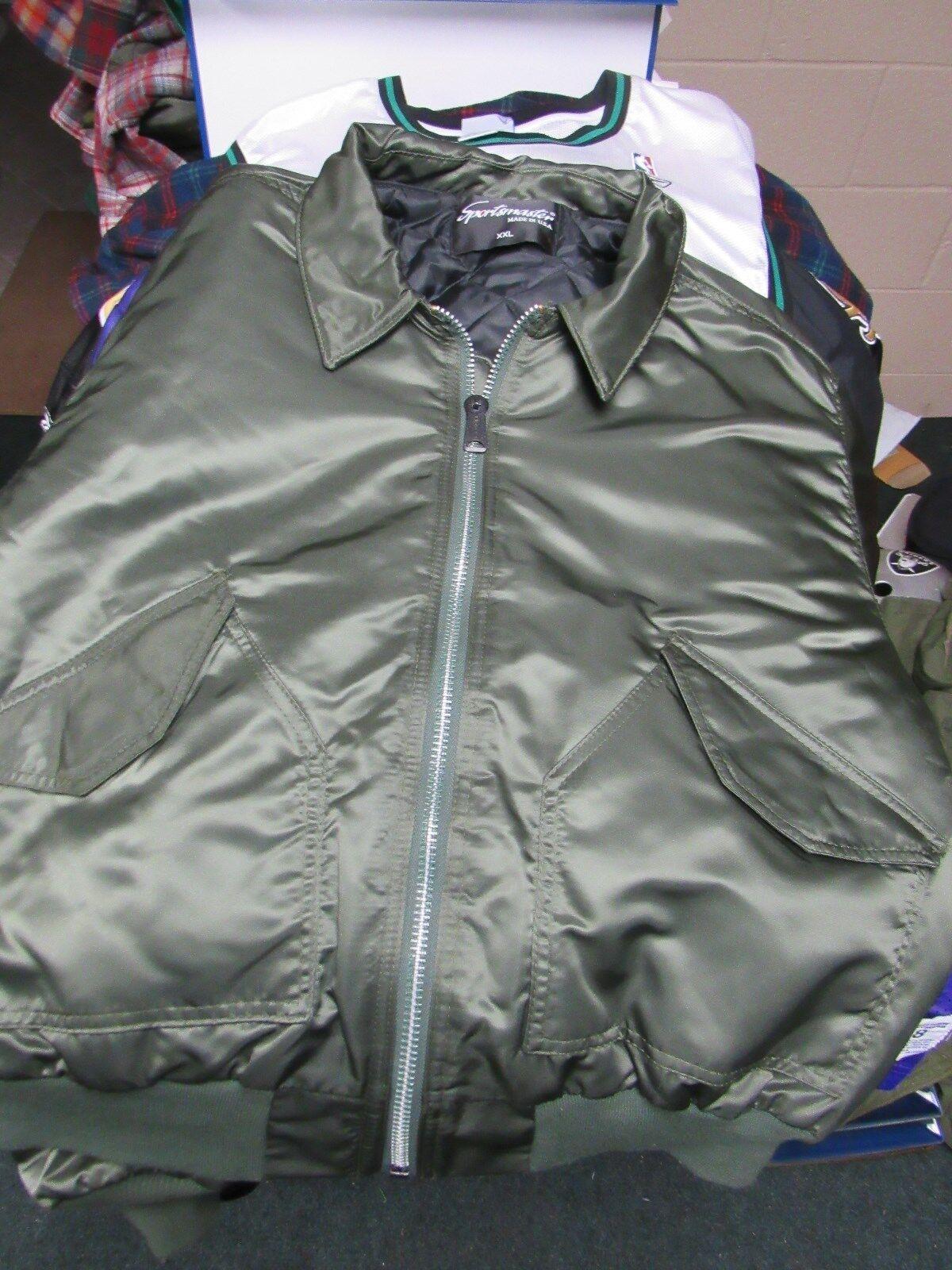 SPORTSMASTER vert Bomber Veste Style Col homme taille 2XL nylon très bon état Usa Made