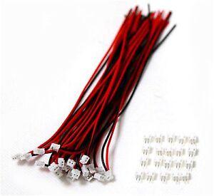 40-SETS-Mini-Micro-ZH-1-5-2-Pin-JST-Stecker-mit-Draehten-Kabel