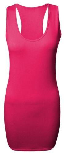 Ladies Women/'s Long Racer Back Bodycon Muscle Vest Top Gym Top All Plus Sizes