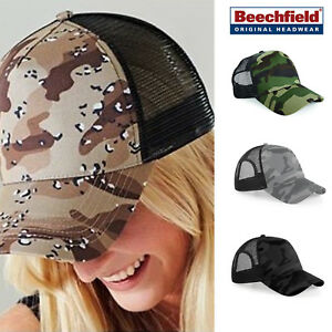 ce3d9af31c0d0 Image is loading Beechfield-Camo-Snapback-Trucker-hat-Summer-Army-urban-