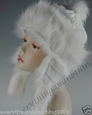 Wool Faux Fox Fur Winter Mongolian Hat Ushanka Trapper Russian Style Hat  White