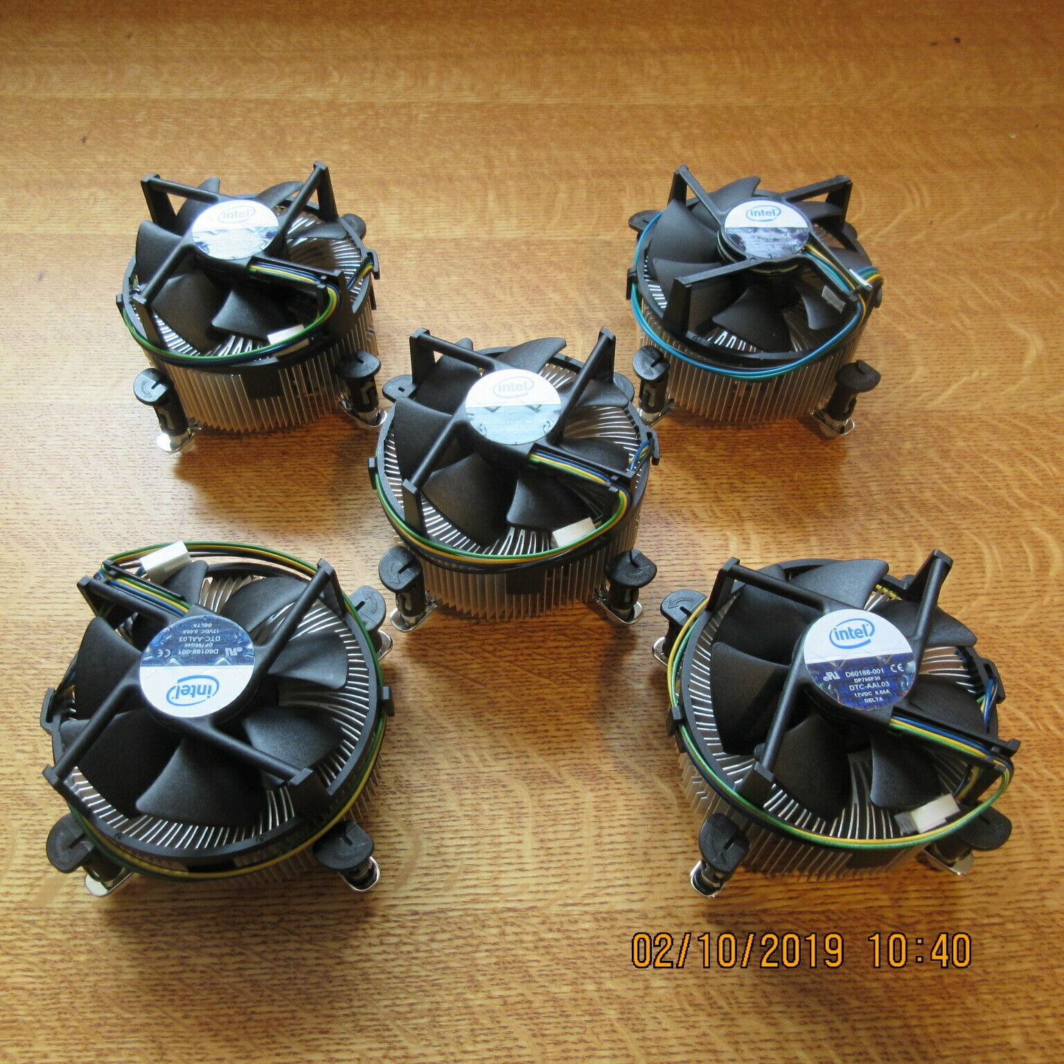 **NEW** Intel D60188-001 Socket LGA775 Copper Core CPU Heatsink and Fan Lot of 5