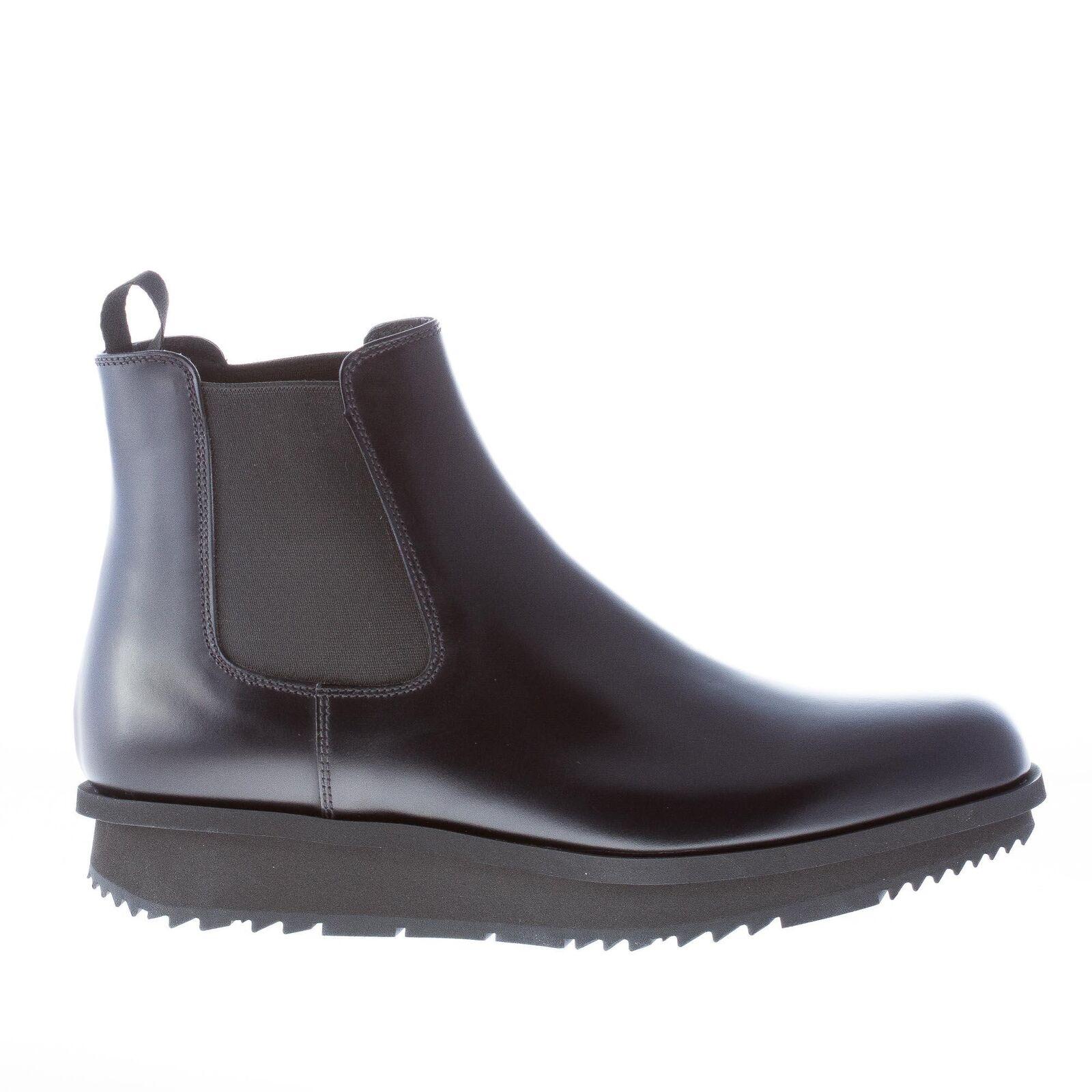 PRADA Hombres Zapatos Negro Cuero Spazzolato   planteado Ligero Suela Chelsea bota