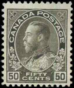 Canada-120-mint-F-VF-OG-H-1925-King-George-V-50c-black-brown-Admiral-Dry-Print