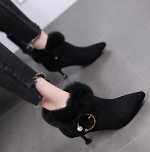 Winter Women Fur Line Warm Mid High Heel Shoes Suede Buckle Ankle Boot Stilettos