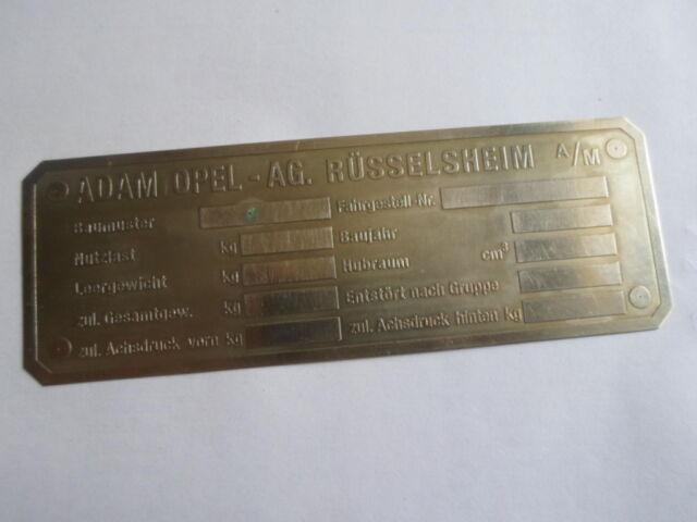 Typenschild Opel Rüsselsheim Schild Rekord blitz commodore Admiral Kapitän S23