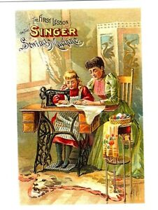 POSTCARD-REPRODUCTION-FROM-OLD-ADVERTISEMENT-THE-FIRST-LESSON-ON-THE-SINGER