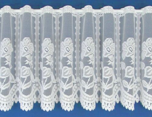 ANDREA THICK COTTON LOOK WHITE LACE WINDOW CAFE NET CURTAIN 3 DROPS BY THE METRE